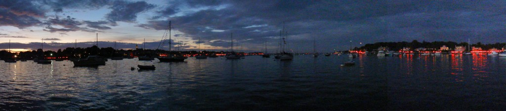 Panoramic image of the harbor illumination